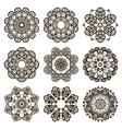 Round mehndi henna patterns drawn doodle set vector image