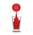 Tomato squeeze into glass Fresh tomato juice vector image