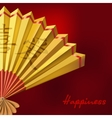 Yellow Chinese fan on red background vector image