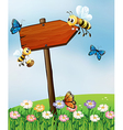 An arrow board with insects vector image vector image