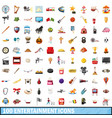 100 entertainment icons set cartoon style vector image