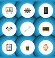flat icon lifestyle set of whiteboard timer vector image