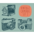 Set of Vintage Retro Old Camera Hand Drawn vector image