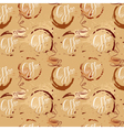 Seamless pattern with coffee cups coffee stain cal vector image
