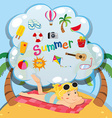 Summer theme with girl on the beach vector image