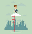 businessman standing in a cloud on top vector image