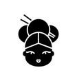 geisha icon black sign on vector image