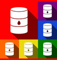 oil barrel sign set of icons with flat vector image