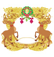 Reindeer Christmas card design vector image