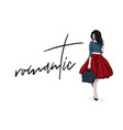 romantic woman in lovely red skirt and navy vector image