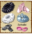 Set of ballet supplies ballerina 6 items clothing vector image