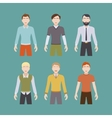 Six male characters vector image