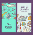 sketched sea vertical banner templates vector image
