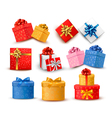 Set of colorful gift boxes with bows and ribbons vector image