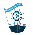 a ship a steering wheel and a flag vector image