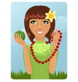 eco girl with berry necklace vector image vector image