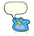 funny cartoon robin with speech bubble vector image