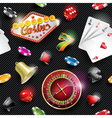 seamless casino pattern with gambling elements vector image vector image
