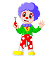 cute clown holding horn vector image