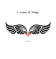i-letter sign and angel wingsmonogram wing logo vector image