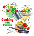kitchenware and vegetables composition vector image