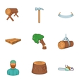 Cutting down trees icons set cartoon style vector image