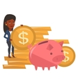 Businesswoman putting coin in piggy bank vector image