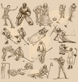 winter sports mix - an hand drawn collection vector image