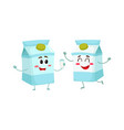 two funny carton box character one offering milk vector image