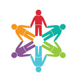 Teamwork embrace 6 group of people vector image
