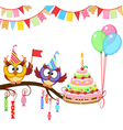 Owl give cake vector image