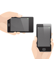 Vertical and Horizontal Smart Phone with Hand vector image