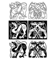 Wolves and dogs in celtic ornament vector image