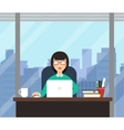 Woman with laptop in office room with big window vector image