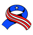 ribbon in the usa flag colors icon cartoon vector image vector image
