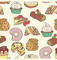 seamless pattern doodle pastry cake bread vector image