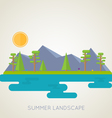 Landscape flat forest and mountains vector image