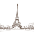 Eiffel tower hand drawn Paris vector image