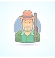 Huntsman with a gun hunting man icon vector image