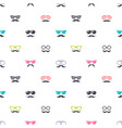 pattern with colorful glasses and mustache vector image