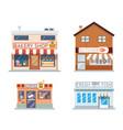 food shops building set butcher coffee fish bakery vector image