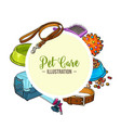 veterinary banner of pet accessories with round vector image