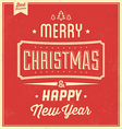 Vintage Christmas Typographic Background vector image