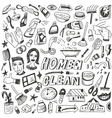 Clean home cleaning tools - doodles set vector image vector image