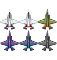 Six different designs of fighting jet vector image