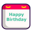 birthday calendar icon cartoon style vector image