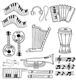 Doodle of object music hand draw vector image