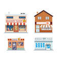 food shops building set butcher coffee fish bakery vector image