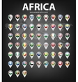 Map markers with flags - Africa Original colors vector image