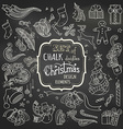 set of chalk Christmas design elements vector image